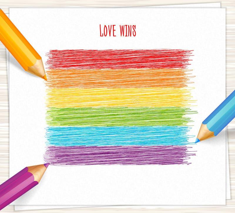 Listras do arco-íris, desenho de lápis do esboço Bandeira de LGBT, cultura alegre ilustração stock