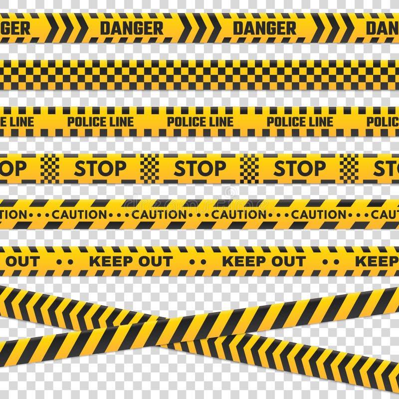 Listras do perímetro do cuidado A linha de polícia preta e amarela isolada não se cruza para a cena criminosa A segurança alinha  ilustração stock