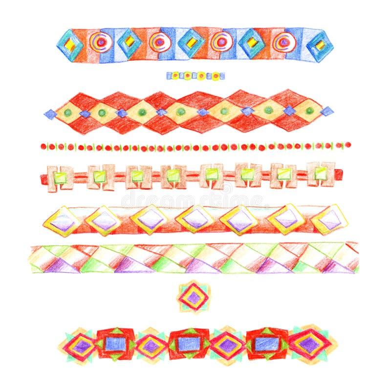 Listras dos ornamento étnicos coloridos desenhados à mão com os lápis coloridos com rombos e correntes, isoladas no fundo branco ilustração royalty free