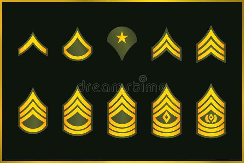 Listras e vigas dos graus militares Insígnias ajustadas do exército do vetor ilustração stock