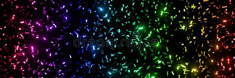Listras metálicas do brilho dos confetes do twinkling em cores do arco-íris - na frente de um formato preto 3x1 da bandeira do fu foto de stock royalty free