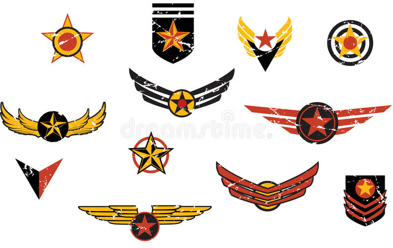 Listras militares imaginárias dos emblemas ilustração do vetor