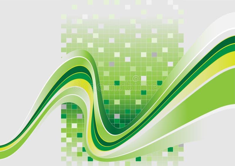 Listras onduladas com um matiz verde. Banner.Background. ilustração stock