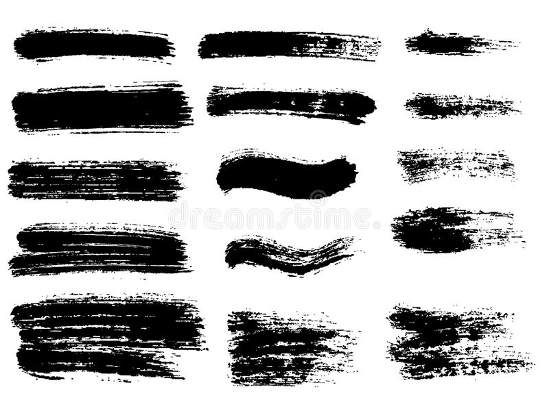 Listras pintadas do grunge ajustadas Etiquetas do preto, fundo, texto da pintura ilustração do vetor