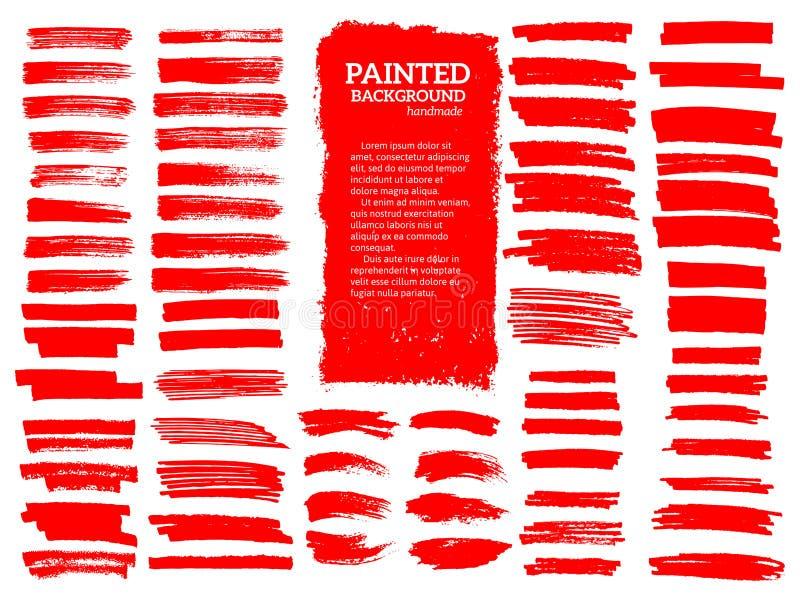 Listras pintadas do grunge ajustadas Etiquetas vermelhas, fundo ilustração royalty free