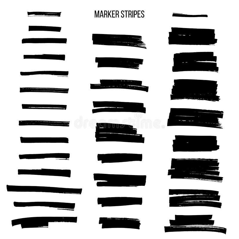 Listras pretas do marcador do destaque isoladas no fundo branco Elementos do projeto do vetor ilustração do vetor