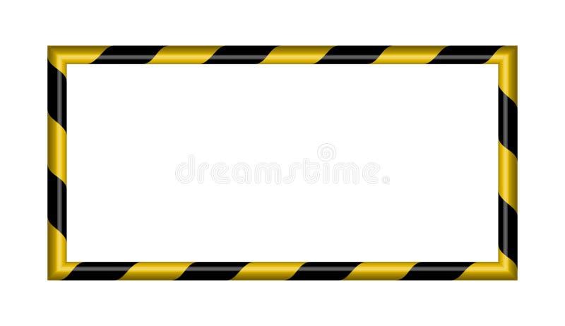 listras retangulares listradas de advertência do fundo 3d, as amarelas e as pretas no diagonal, aviso a ser vetor potencial cuida ilustração stock