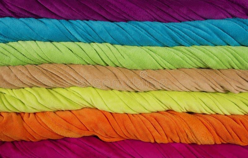 Listras torcidas coloridas de toalhas de terry imagem de stock