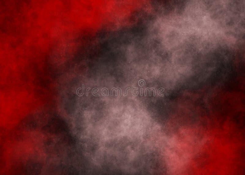 Listras vermelhas e brancas do fumo no fundo preto ilustração do vetor