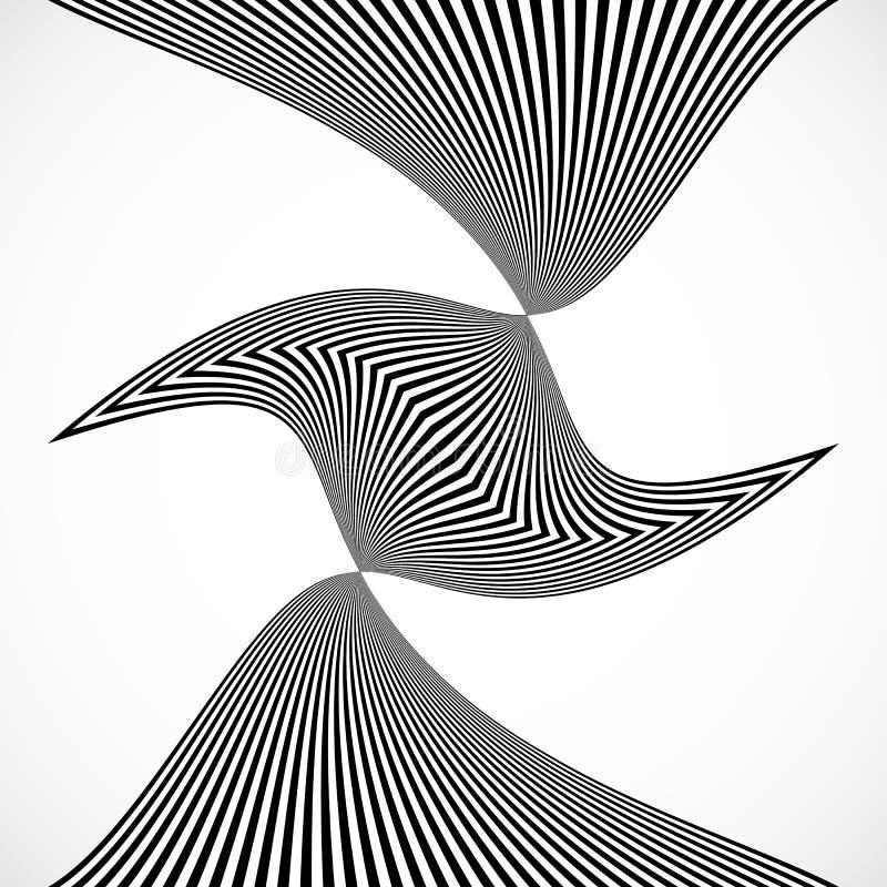 Listras verticais, linhas com distorção, efeito da urdidura M abstrato ilustração do vetor
