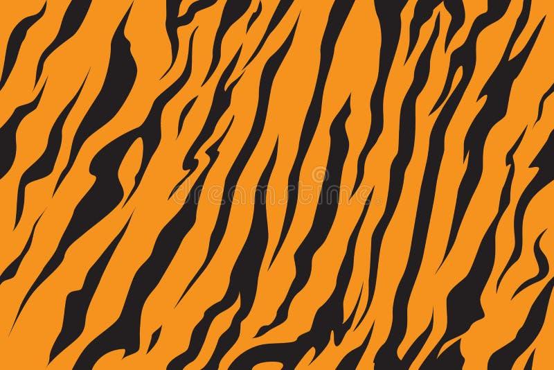 Listre o teste padrão da textura da pele do tigre da selva que repete o preto do amarelo alaranjado ilustração royalty free
