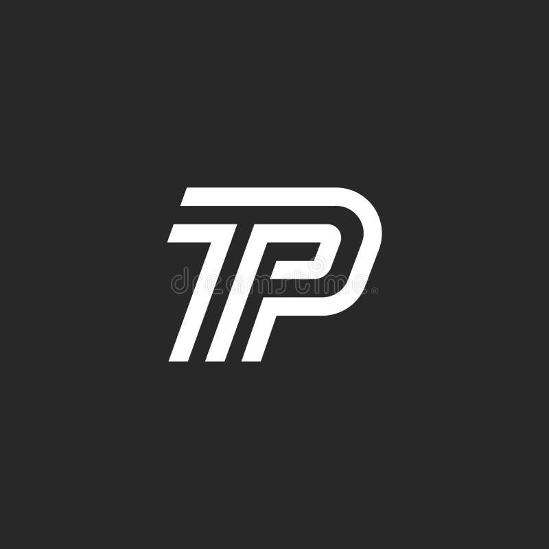 Listu TP logo parafuje minimalnego stylowego monogram, cienieje kreskowego kaligraficznego emblemat PT, liniowy dwa symbolu P T w royalty ilustracja