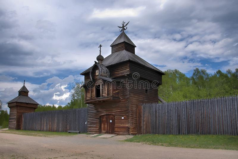 Listvanka, Taltsy, Russia - June, 04, 2011. Panorama of the ancient wooden building of the fortress stock photography