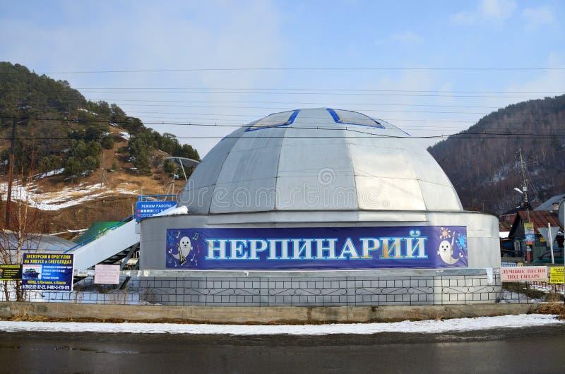 Listvyanka, Rusland, 02 Maart, 2017 Nerpinaryverbinding in Listvyanka in de winter stock afbeelding