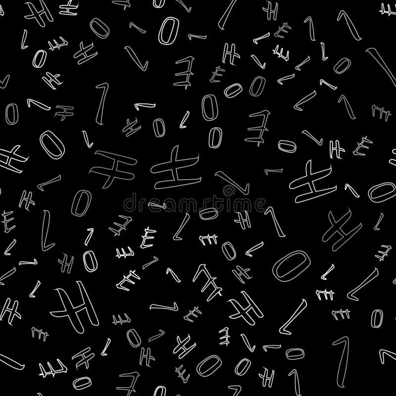Listy cześć, tło kolorowy, bezszwowy, listy z serifs na zmrok menchii tle Cienki biały kontur na t royalty ilustracja