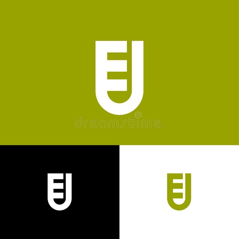 Listy E i U jako osłona E, U gęste linie monogram Sie?, interfejs u?ytkownika ikona ilustracji