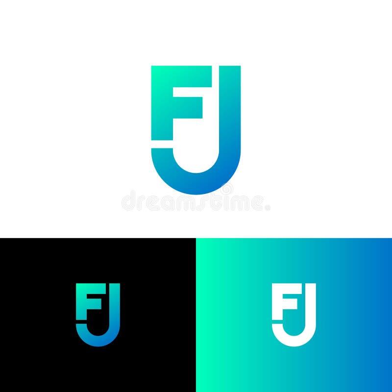 Listy F i J jako osłona F, J gęste linie monogram Sie?, interfejs u?ytkownika ikona royalty ilustracja