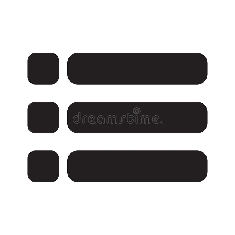 Listy ikona na bia?ym tle Mieszkanie styl Lista symbol dla twój strona internetowa projekta, logo, app, UI Zadowolony widok opcji ilustracja wektor