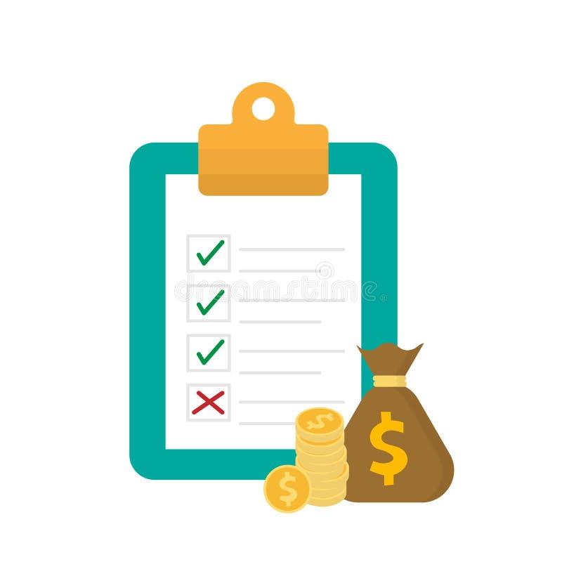 Listy kontrolnej forma i pieniądze torba na schowek ilustracji w mieszkaniu projektujemy ilustracja wektor
