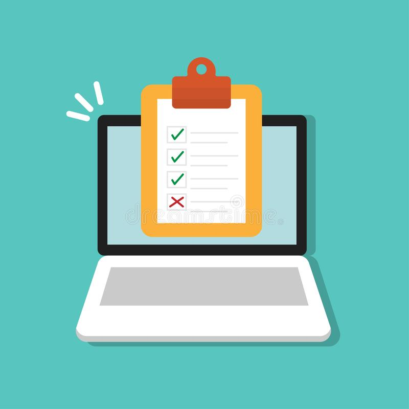 Listy kontrolnej forma na schowku na laptop ikonie Klient ankiety pojęcia mieszkania wektorowy ilustracyjny styl royalty ilustracja
