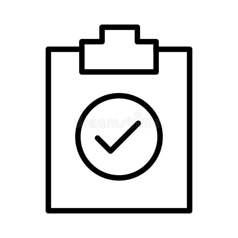 Listy kontrolnej ikony wektor Prosty p?aski symbol Doskonalić Czarna piktograf ilustracja na białym tle ilustracji