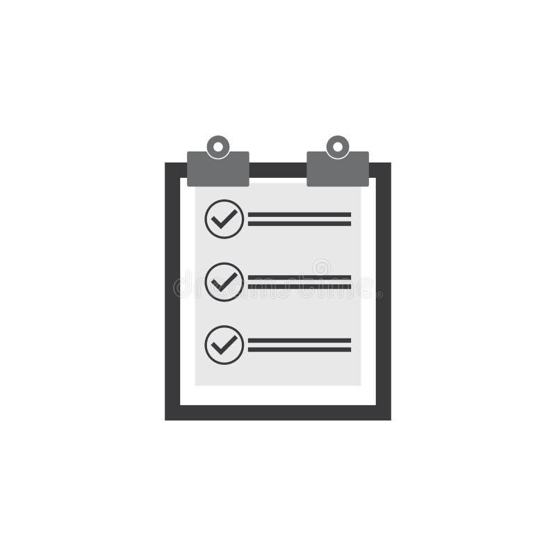 Listy kontrolnej ikony wektor listy kontrolnej wektorowej grafiki ilustracja royalty ilustracja