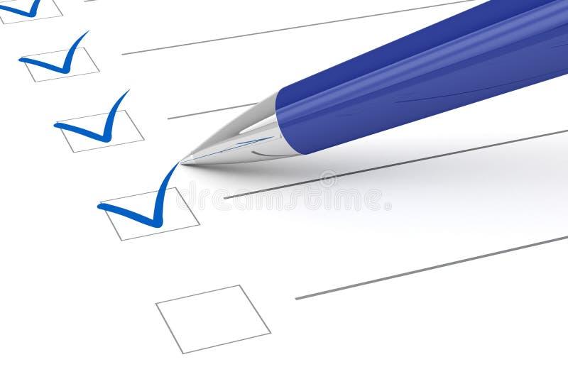 Listy kontrolnej pióro i papier. ilustracja wektor