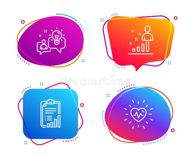 Listy kontrolnej, pomys?u i Stats ikony ustawia?, Bicie serca znak Wykresu raport, rozwi?zanie, Biznesowa analiza Medyczny serce  ilustracji