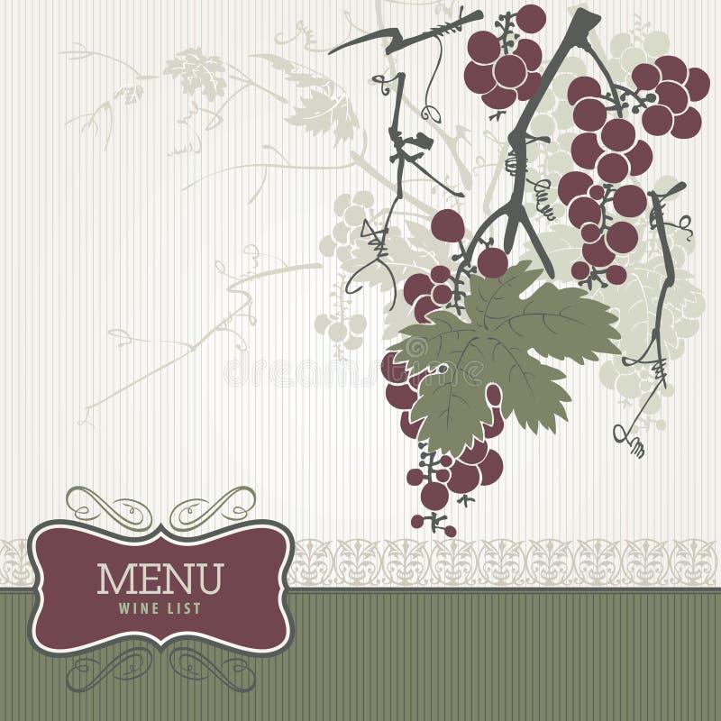 listy menu rocznika wino ilustracji