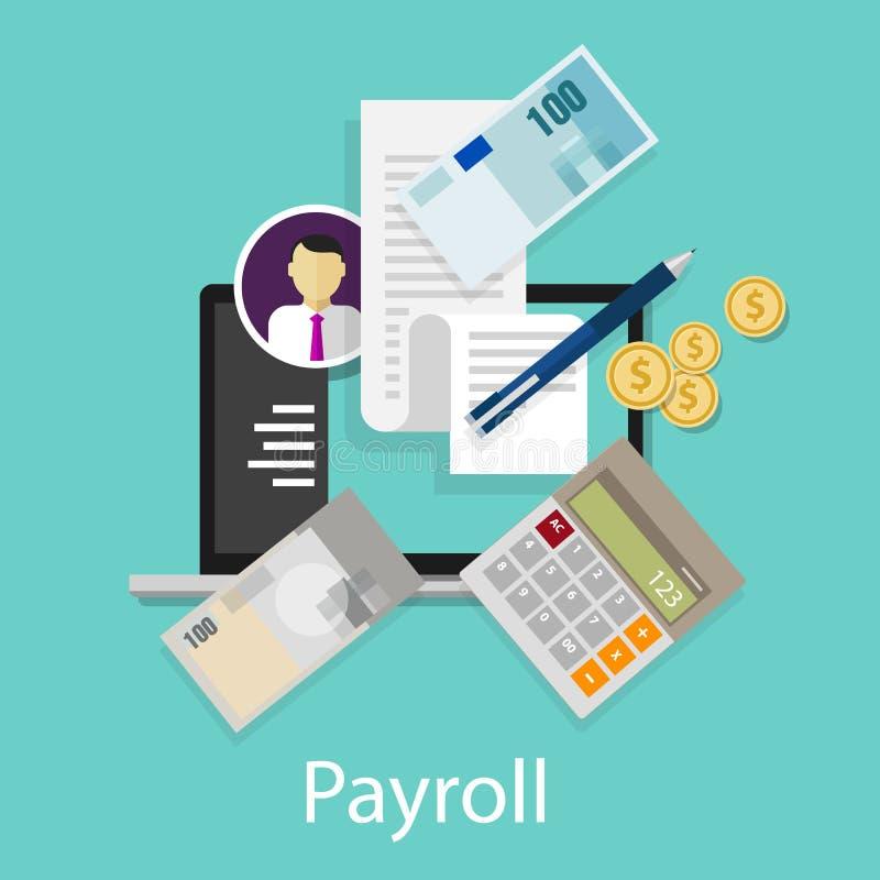 Listy płac księgowości pensyjna zapłata prowadzi pieniądze kalkulatora ikony symbol ilustracja wektor