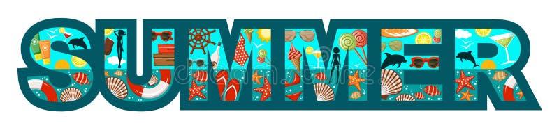 Listy słowa lato na plaży royalty ilustracja