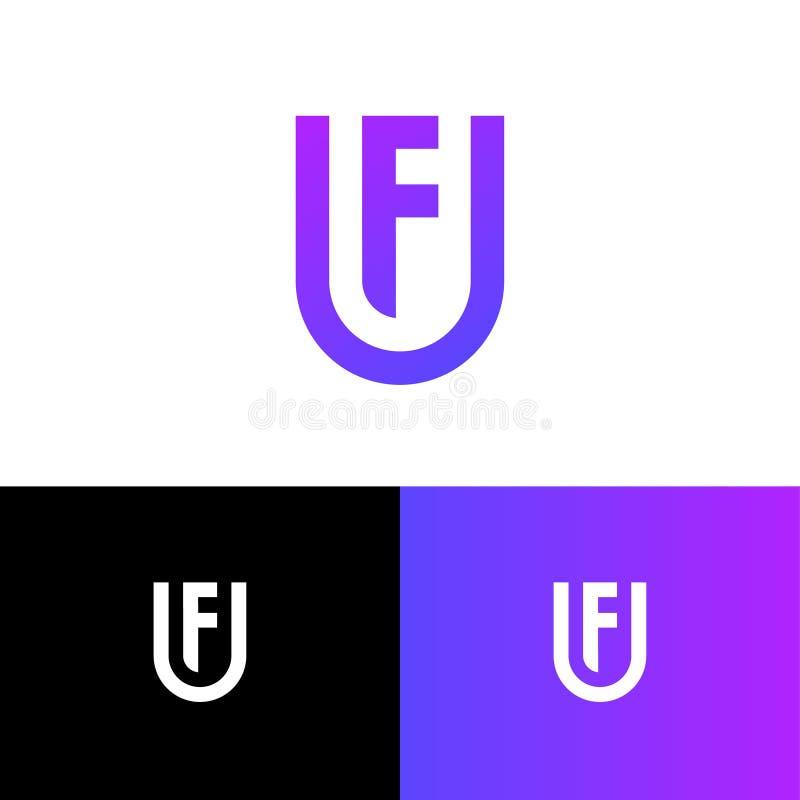 Listy U i F jako osłona U, F gęste linie monogram Sie?, interfejs u?ytkownika ikona royalty ilustracja