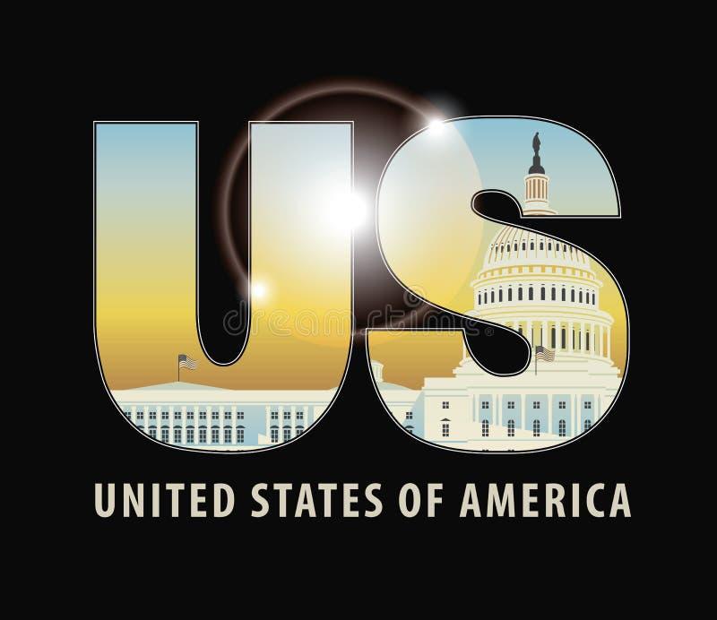 Listy USA z wizerunkiem Capitol budynek royalty ilustracja