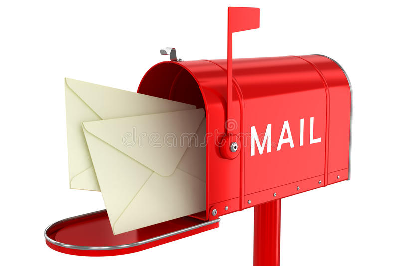 Listy w otwartej skrzynce pocztowa ilustracji