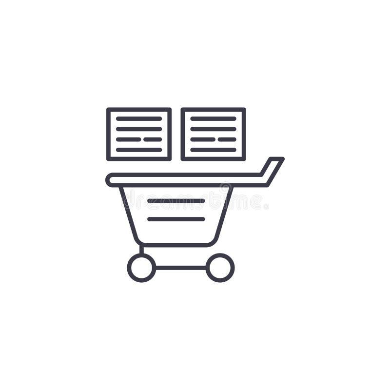 Listy zakupów ikony liniowy pojęcie Lista zakupów wektoru kreskowy znak, symbol, ilustracja royalty ilustracja