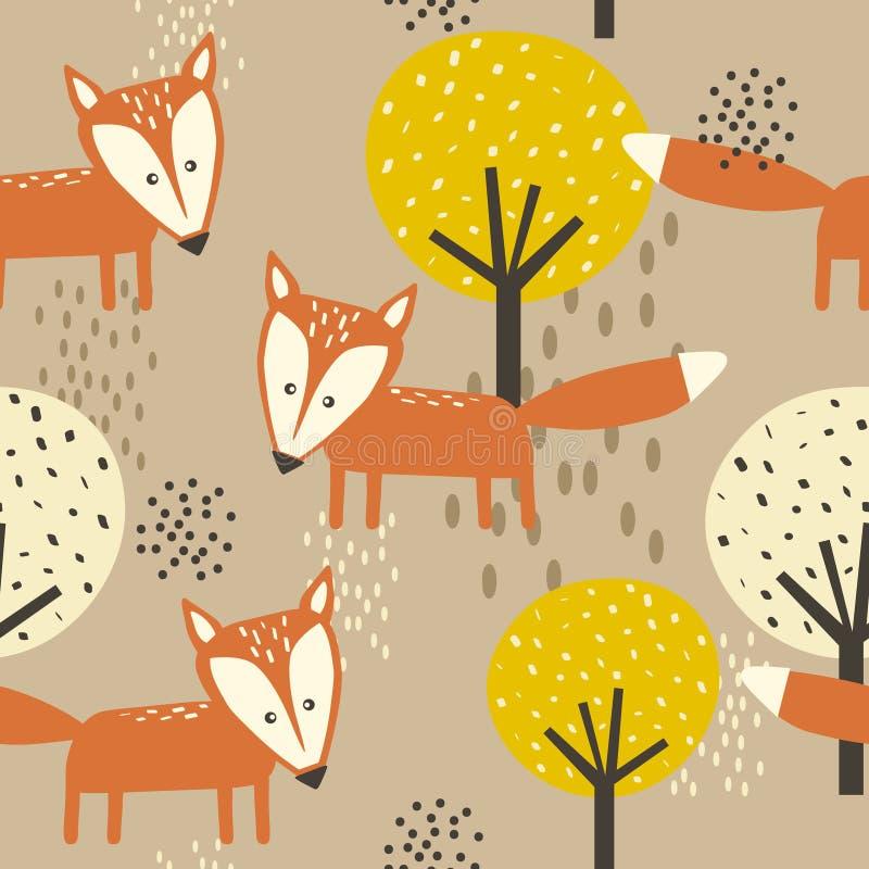 Lisy, drzewa, dekoracyjny śliczny tło Kolorowy bezszwowy wzór z zwierzętami, las ilustracja wektor