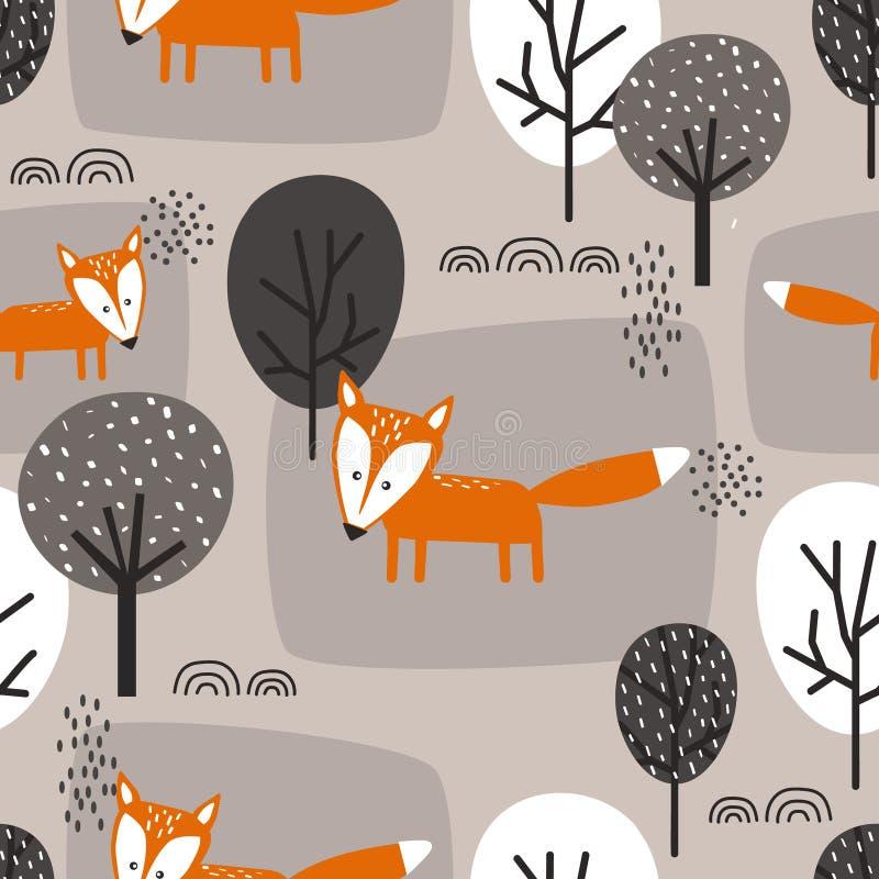 Lisy i drzewa, dekoracyjny ?liczny t?o Kolorowy bezszwowy wzór z zwierzętami, las ilustracja wektor