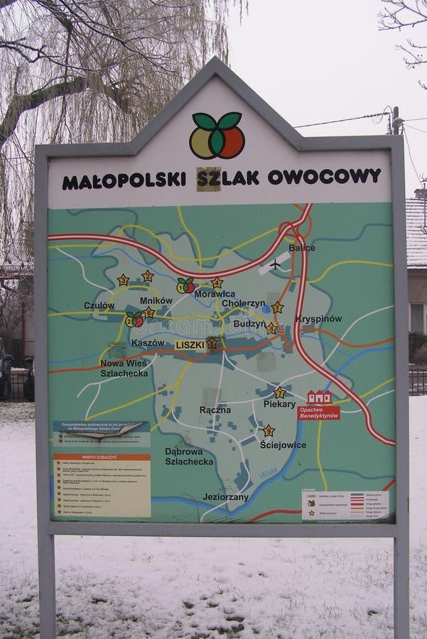 Liszki, pueblo en el condado de Kraków, mapa de Pequeña Polonia del rastro de la fruta de Turistic fotografía de archivo