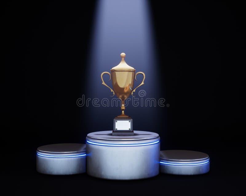 Lit накаляя золотая чашка на постаменте Выигрывать и champi награды иллюстрация вектора