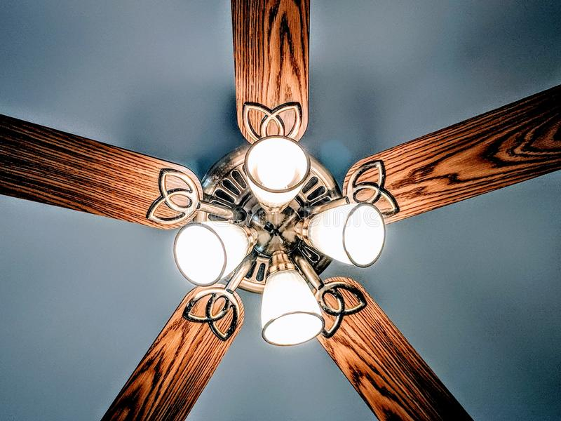 Lit Brown And Gray Lighted Ceiling Fan Free Public Domain Cc Image
