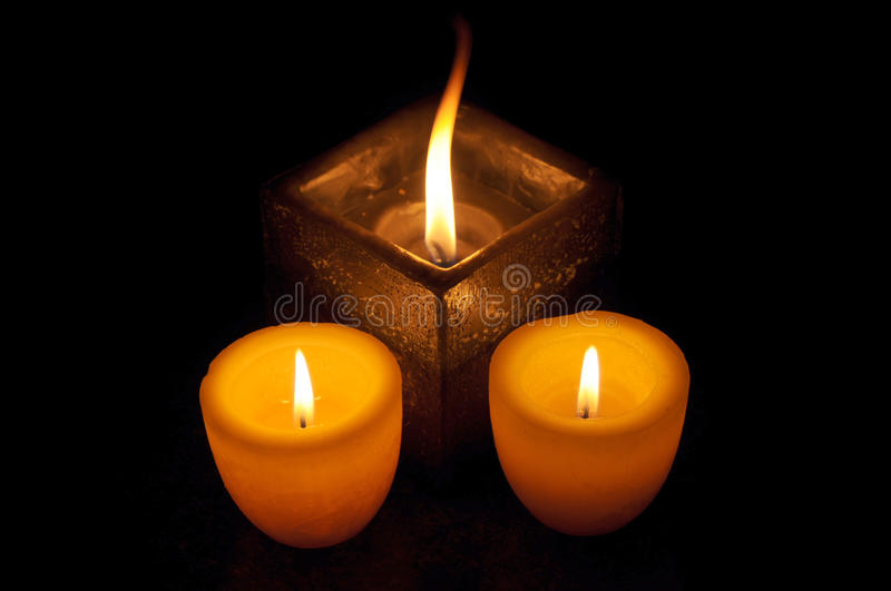 Lit Candles On Dark Royalty Free Stock Images
