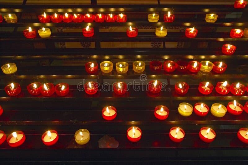 Lit Candles inside Notre Dame de la Garde, Marseilles, France stock images