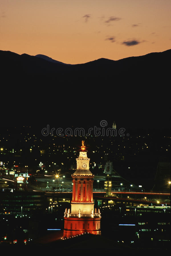 Lit Clock Tower Editorial Image