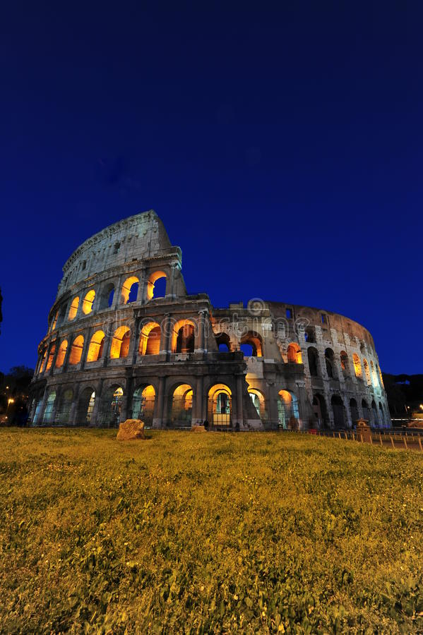 Lit colosseum - Magic nights in Rome stock photos