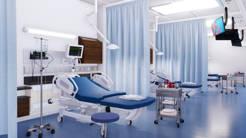 Lit d'hôpital vide dans la chambre de secours 3D intérieur illustration de vecteur