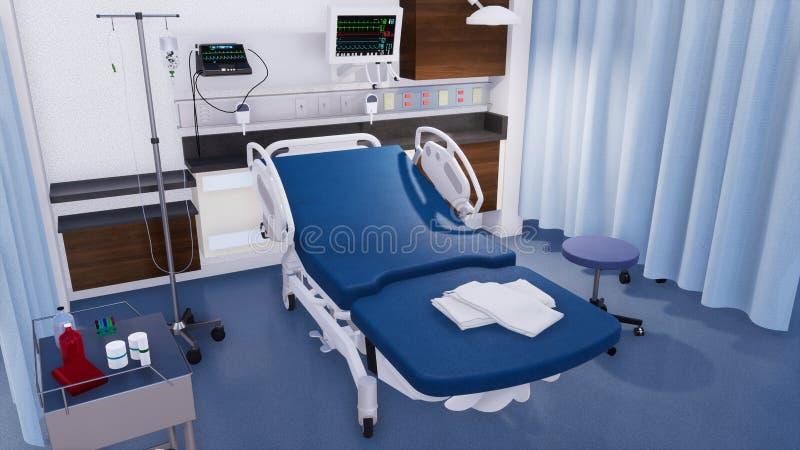 Lit d'hôpital vide dans la chambre de secours moderne illustration de vecteur