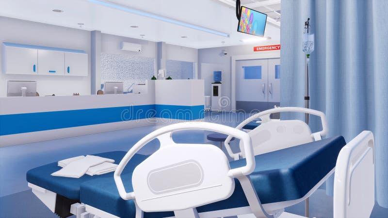 Lit d'hôpital vide en plan rapproché de chambre de secours illustration de vecteur