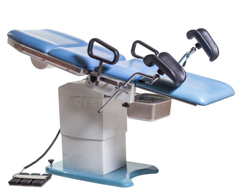 Lit d'opération et chaise genicologic diagnostique, women' ; consultation de s image libre de droits