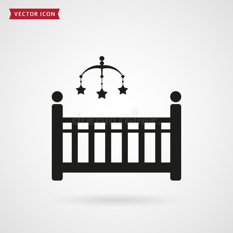Lit de bébé avec l'icône de mobile de huche illustration de vecteur