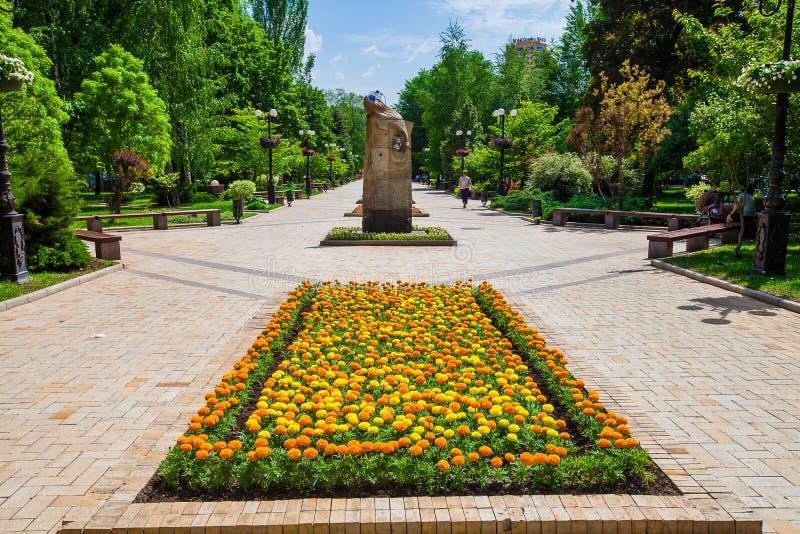 Lit de fleur dans le lieu public urbain à Donetsk photo libre de droits